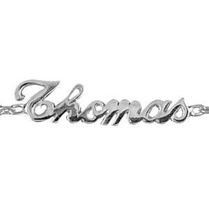 Bracelet en argent chaîne maille forçat avec découpe anglaise 3 prénoms au milieu - longueur 18,5cm réglable 17cm - Vue 1
