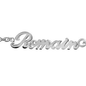 Bracelet en argent chaîne maille forçat avec découpe anglaise 2 prénoms  séparés par un coeur ,