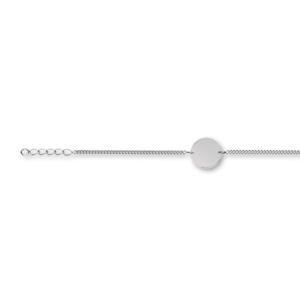 Bracelet en argent chaîne maille serrée avec plaque ronde à graver au milieu - longueur 17cm + 3 cm de rallonge - Vue 1