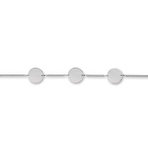 Bracelet en argent chaîne maille serrée avec 3 plaques rondes à graver - longueur 17,5cm + 2,5cm - Vue 1