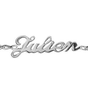 Bracelet en argent chaîne mailles 1+1 largeur 2mm avec découpe anglaise 3 prénoms - longueur 18,5cm réglable 17cm - Vue 1