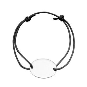 Bracelet en argent cordon coulissant noir avec plaque ovale à graver