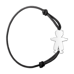 Bracelet en argent cordon noir coulissant avec petit garçon au milieu - Vue 1