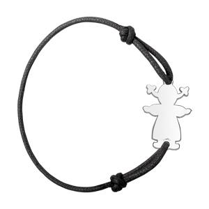Bracelet en argent cordon noir coulissant avec petite fille au milieu - Vue 1