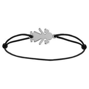 Bracelet en argent cordon noir coulissant avec petite fille simple au milieu - Vue 1
