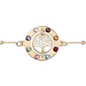 Bracelet en argent et dorure jaune chaîne avec cercle arbre de vie contour pierres multi couleurs 16+3cm - Vue 1