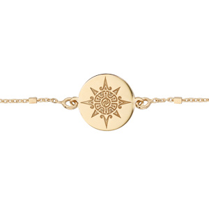 Bracelet en argent et dorure jaune chaîne avec pastille soleil stylisé 17+3cm - Vue 1