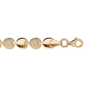 Bracelet en argent et dorure jaune pastilles lisses et ornées d\'oxydes blancs 18cm - Vue 1