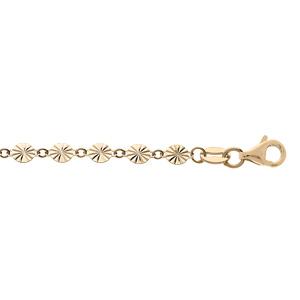 Bracelet en argent et dorure jaune pastilles serrées diamantés 16+3cm - Vue 1