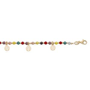 Bracelet en argent et dorure jaune pierres facetés et pampilles arbre de vie 16+3cm - Vue 1