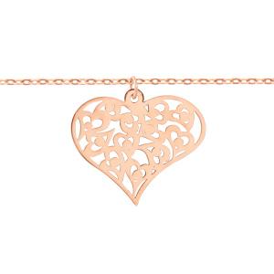 Bracelet en argent et dorure rose chaîne avec coeur découpé en arabesques - longueur 16cm + 3cm de rallonge - Vue 1