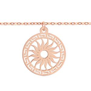 Bracelet en argent et dorure rose chaîne avec pampille rond découpé en méandres grecs sur le tour et soleil au milieu - longueur 16cm + 3cm de rallonge - Vue 1