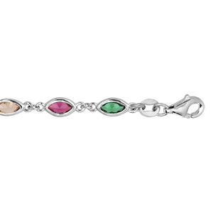 Bracelet en argent rhodié avec oxydes multi couleur en forme de navette longueur 16+3cm - Vue 1