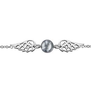 Bracelet en argent rhodié chaîne ailes d\'ange avec 1 perle grise synthétique au milieu - longueur 16cm + 2cm de rallonge - Vue 1