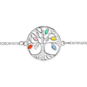 Bracelet en argent rhodié chaîne avec arbre de vie ajouré et feuilles en résines multicolore - longueur 16cm + 3cm de rallonge - Vue 1