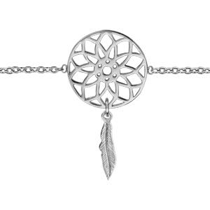 Bracelet en argent rhodié chaîne avec 1 attrape rêve avec 1 plume suspendue au milieu - longueur 16cm + 2cm de rallonge - Vue 1