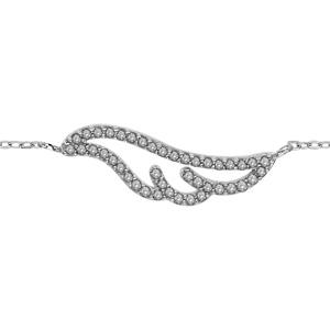 Bracelet en argent rhodié chaîne avec au milieu 1 aile longue ornée d\'oxydes blancs - longueur 16m + 2cm de rallonge - Vue 1