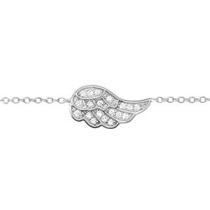 Bracelet en argent rhodié chaîne avec au milieu 1 aile ornée d\'oxydes blancs sertis - longueur 16cm + 2cm de rallonge - Vue 1