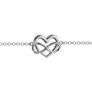 Bracelet en argent rhodié chaîne avec au milieu 1 coeur et 1 symbole infini  entremêlés - longueur ... 9c380372bd15