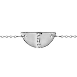 Bracelet en argent rhodié chaîne avec au milieu demi lune avec barrette d\'oxydes blancs sertis au milieu - longueur 16cm + 2cm de rallonge - Vue 1