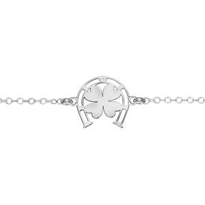 Bracelet en argent rhodié chaîne avec au milieu 1 fer à cheval avec 1 trèfle à 4 feuilles au centre - longueur 16cm + 3cm de rallonge - Vue 1