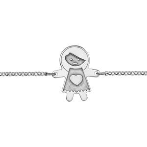 Bracelet en argent rhodié chaîne avec au milieu fille avec effet de matière - longueur 16cm + 3cm de rallonge - Vue 1