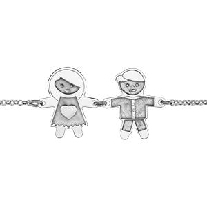 Bracelet en argent rhodié chaîne avec au milieu 1 fille et 1 garçon avec effet de matière - longueur 16cm + 3cm de rallonge - Vue 1