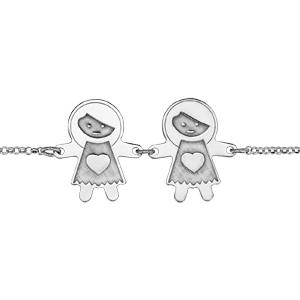 Bracelet en argent rhodié chaîne avec au milieu 2 filles avec effet de matière - longueur 16cm + 3cm de rallonge - Vue 1