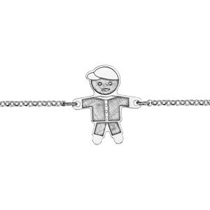 Bracelet en argent rhodié chaîne avec au milieu garçon avec effet de matière - longueur 16cm + 3cm de rallonge - Vue 1