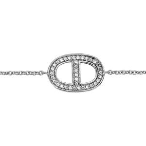 3ae4673151a62 ... Bracelet en argent rhodié chaîne avec au milieu ovale avec barre au  centre en oxydes blancs