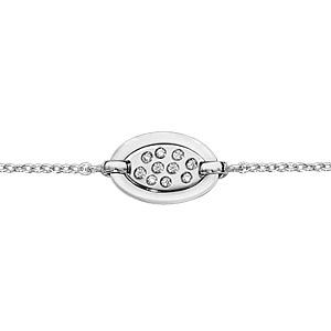 Bracelet en argent rhodié chaîne avec au milieu 1 ovale en céramique blanche et éclats d\'oxydes blancs sertis - longueur 16cm + 3cm de rallonge - Vue 1