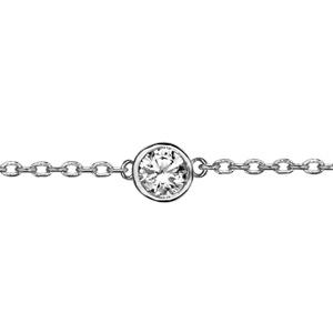 2841cbe4f2a2c ... Bracelet en argent rhodié chaîne avec au milieu 1 oxyde blanc de 5mm  serti clos -