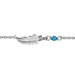 Bracelet en argent rhodié chaîne avec au milieu 1 petite plume et 1 boule turquoise - longueur 16cm + 2cm de rallonge - Vue 1