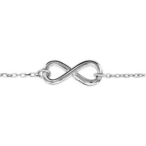 Bracelet en argent rhodié chaîne avec au milieu symbole infini - longueur  16cm + 2cm de rallonge 769dc87fc7c9