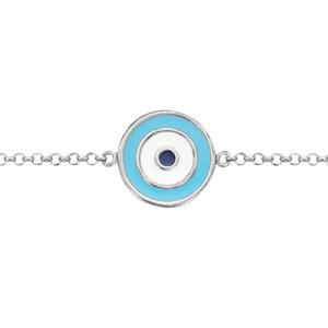Bracelet en argent rhodié chaîne avec au milieu symbole oeil de la chance en résines bleues - longueur 16cm + 2cm de rallonge - Vue 1
