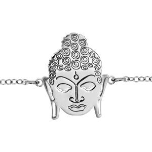 8ff5c0aa5ef19 ... Bracelet en argent rhodié chaîne avec au milieu tête de Shiva -  longueur 16cm + 3cm