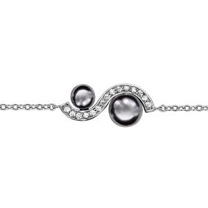 Bracelet en argent rhodié chaîne avec au milieu 1 vague d'oxydes blancs sertis avec 1 perle grise synthétique dans chaque creux - longueur 16cm + 2cm de rallonge