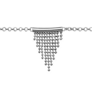 Bracelet en argent rhodié chaîne avec bâton retenant des franges en chaîne boules disposées en pointe - longueur 16cm + 3cm de rallonge - Vue 1