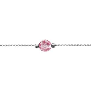 Bracelet en argent rhodié chaîne avec boule cristal rose facettée au centre 16cm + 3cm - Vue 1