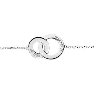 Bracelet en argent rhodié chaîne avec 2 cercles entrelacés \