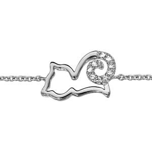 Bracelet en argent rhodié chaîne avec chat ajouré stylisé avec queue ornée d\'oxydes blancs - longueur 16cm + 2cm de rallonge - Vue 1