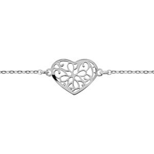 collier en argent rhodi cha ne avec pendentif coeur ajour en forme de fleur longueur 42cm. Black Bedroom Furniture Sets. Home Design Ideas