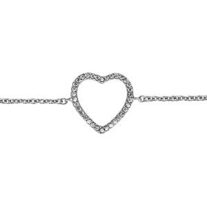 bracelet en argent rhodi cha ne avec coeur fin ajour orn d 39 oxydes blancs longueur 16cm 1. Black Bedroom Furniture Sets. Home Design Ideas