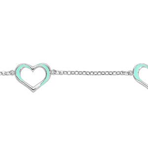Bracelet en argent rhodié chaîne avec coeurs évidés turquoises 16+3cm - Vue 1