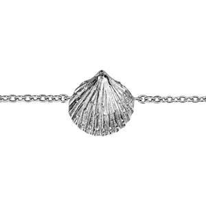 Bracelet en argent rhodié chaîne avec coquillage au milieu - longueur 15,5cm + 2cm de rallonge - Vue 1