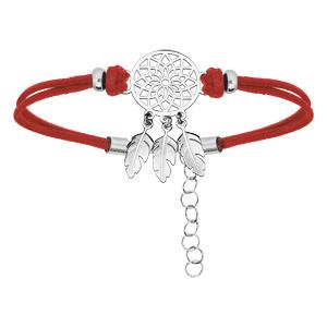 Bracelet en argent rhodié chaîne avec cordon rouge et attrape rêve 16+3cm - Vue 1