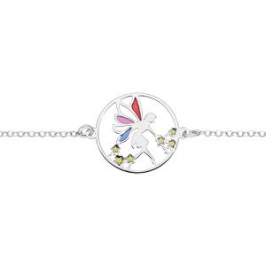 Bracelet en argent rhodié chaîne avec elfe et étoiles longueur 16+2,5cm - Vue 1