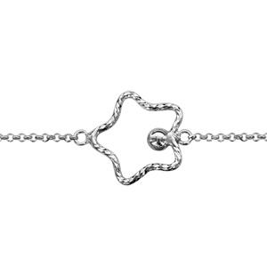 Bracelet en argent rhodié chaîne avec étoile évidée diamantée et boule - longueur 16+3cm - Vue 1