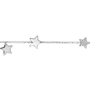 Bracelet en argent rhodié chaîne avec étoiles 2 lisses et 1 pavée d\'oxydes blancs sertis - longueur 16+3cm - Vue 1