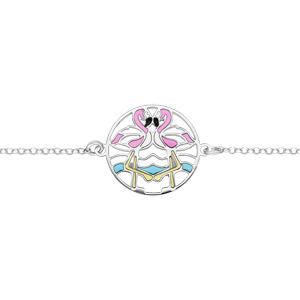Bracelet en argent rhodié chaîne avec flamant rose résine longueur 16+3cm - Vue 1
